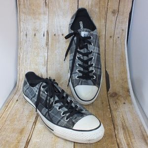 Converse Chuck Taylor Low Plaid Mens Size 10.5 Gry